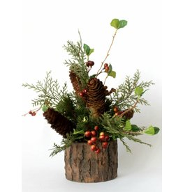 IN HOUSE Small Round Bark Floral Arrangement