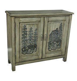 CRESTVIEW Ponderosa 2 Door Mountain Scene Cabinet DS