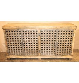CRESTVIEW Bengal Manor Metal Lattice Work and Mango Wood Sideboard DS