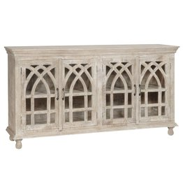CRESTVIEW BENGAL MANOR LIGHT MANGO WOOD CATHEDRAL DESIGN 4 DOOR SIDEBOARD DS