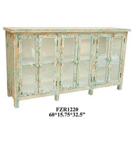 CRESTVIEW Dawson Creek Weathered Oak and Cyan 6 Door Sideboard DS