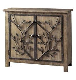 CRESTVIEW Windcrest Rustic Wood and Metal Tree 2 Door Cabinet DS