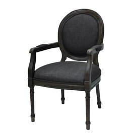 CRESTVIEW Grayson Rustic Wood and Gray Linen Chair DS