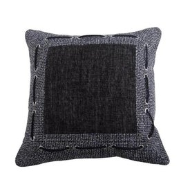HIEND Tweed and Chenille Pillow with Framing & Laced Rope