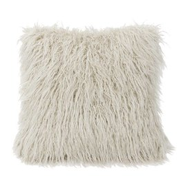 HIEND Mongolian Faux Fur Pillow - Cream, Taupe, Grey, Cream, Chocolate