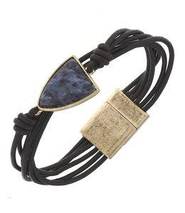 "Canvas Jewelry Dark Brown Leather Gemstone Magnetic Bracelet - Sodalite 7.5"""