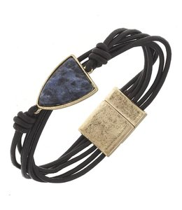 Dark Brown Leather Gemstone Magnetic Bracelet - Sodalite 7.5""