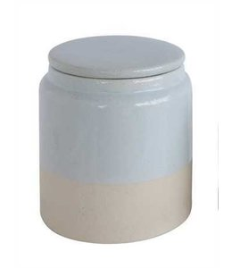 Creative Co-Op Stoneware Glazed Canister Matte/White 6""