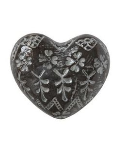 Creative Co-Op Stoneware Heart Embossed Brown and White