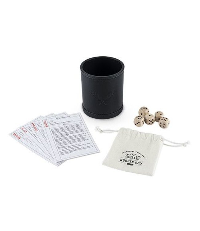 Wood Dice & Faux Leather Dice Cup Drinking Game