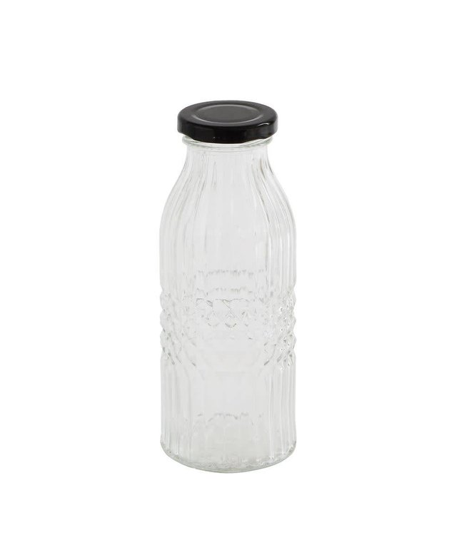 Creative Co-Op Glass Bottle with Black Metal Cap