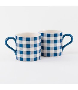 One Hundred Eighty Degrees Blue Gingham Mug