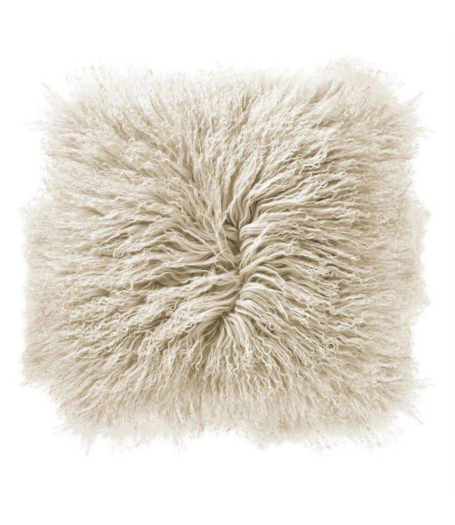 "Bloomingville Mongolian Lamb Fur Pillow White 16"""