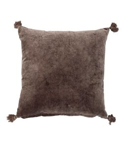 Bloomingville Velvet Pillow w/ Tassels Brown 20""