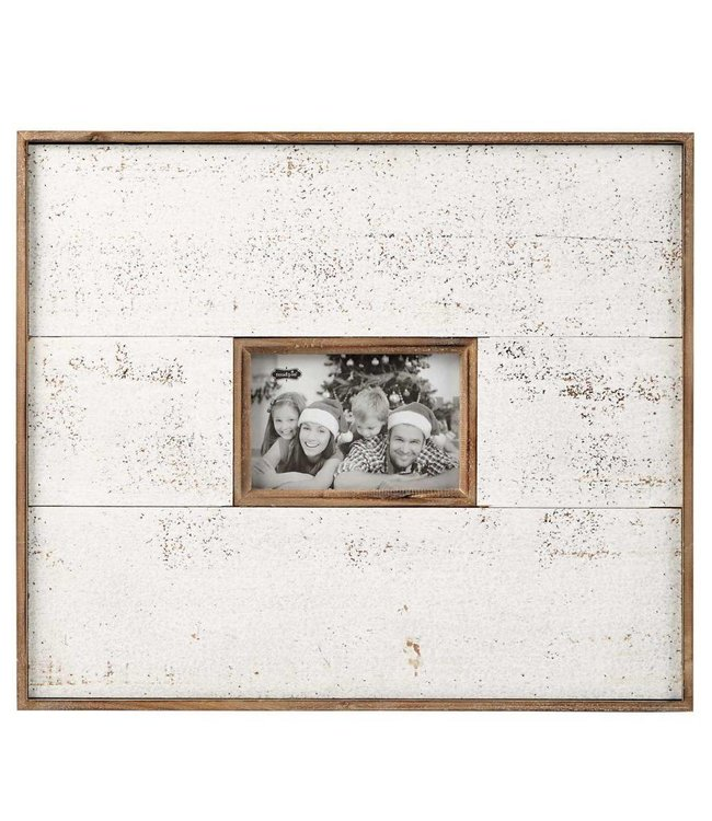 Mud Pie Large White & Natural Distressed Frame