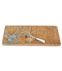 Mud Pie Wood & Metal Deer Serving Board Set