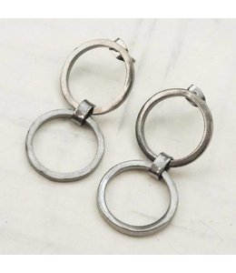 Ink+Alloy Brass Earrings Double Circle Gunmetal