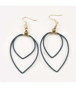 Ink+Alloy Double Leather Hoop Earrings Navy