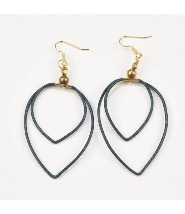 Ink+Alloy Double Leather Hoop Earrings Navy