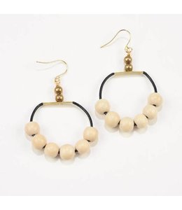 Ink+Alloy Black Leather Hoop Earring with Natural Wood Beads