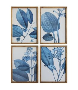 "Creative Co-Op Framed Blue Botanical 28"" x 20"""