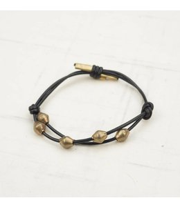 Ink+Alloy Leather & Brass Bead Bracelet Adjustable Black