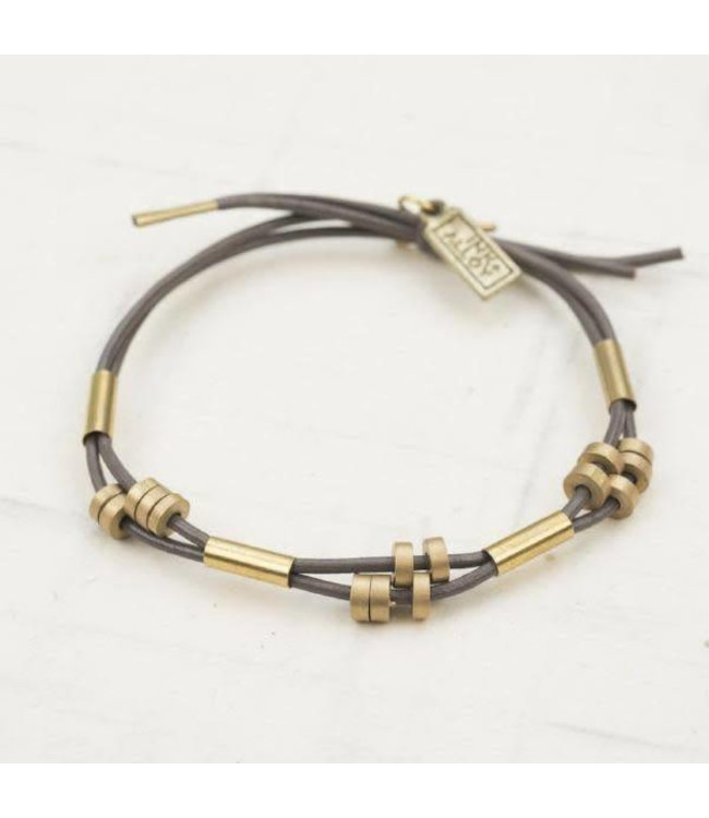 Ink+Alloy Leather and Brass Tube Bracelet Adjustable Putty Grey