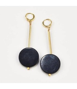 Ink+Alloy Black Onyx Disc Earrings