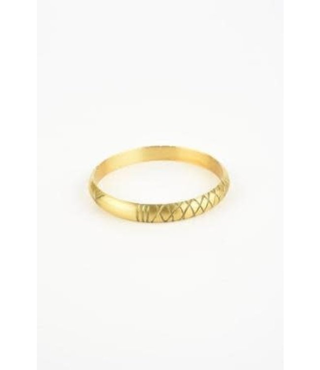 Ink+Alloy Brass Bangle - Etched