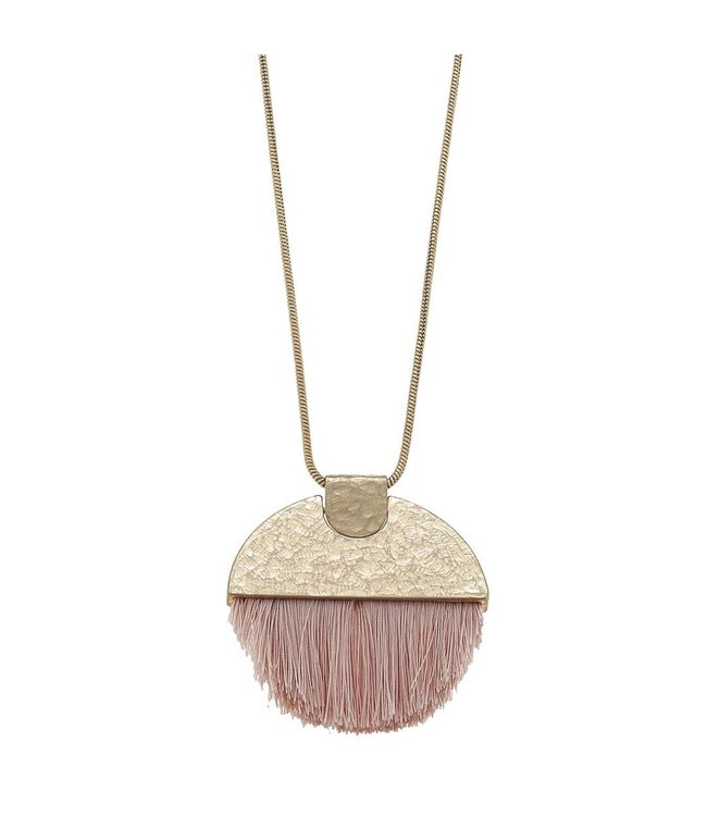 Canvas Jewelry Hammered 1/2 Moon Tassel Necklace Blush