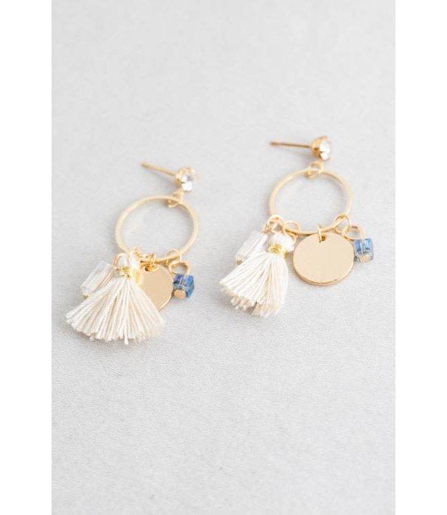Lovoda Charmed Tassel Earrings Cream
