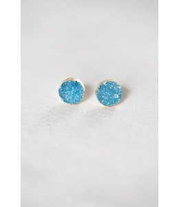 Lovoda Flat Round Blue Druzy Earrings