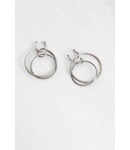 Lovoda Wild Heart Rustic Hoop Earrings Silver