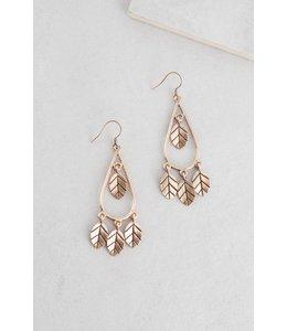 Lovoda Wind Swept Leaf Earrings Gold