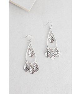 Lovoda Wind Swept Leaf Earrings Silver
