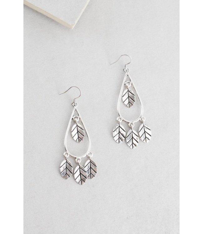 Lovoda Wind Swept Leaf Earrings Silver