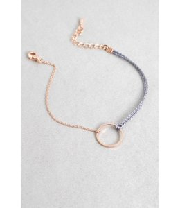 Lovoda Circle Charm Rope Bracelet Rose Gold