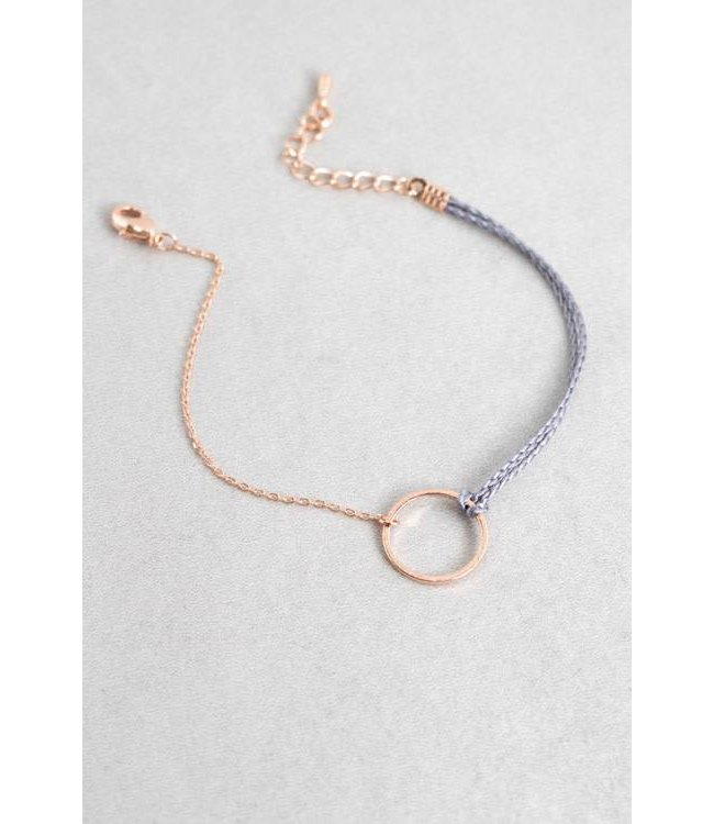 Lovoda Circle Charm Rope Bracelet Rose Gold