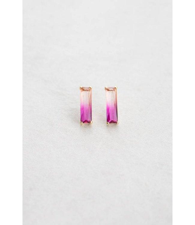 Lovoda Ombre Stone Bar Earrings - Pink