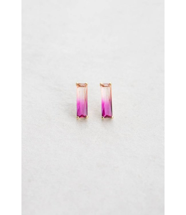 Lovoda Ombre Stone Bar Earrings - Pink