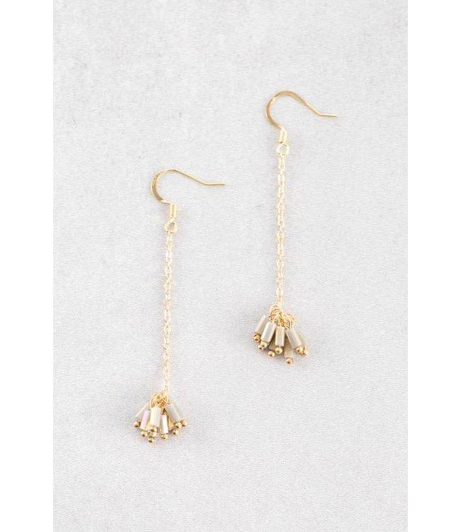 Lovoda Palm Dangle Earrings - Light Olive