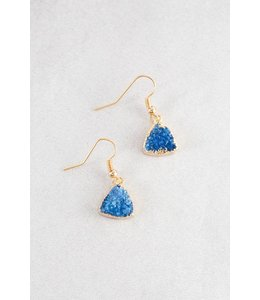 Lovoda Triangle Hook Druzy Earrings - Tsunami Blue