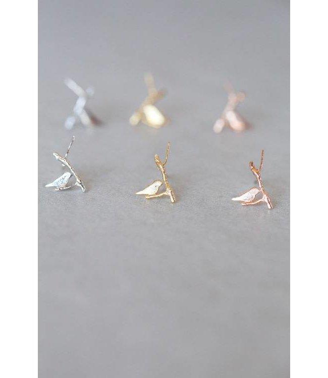 Lovoda Bird and Branch Earrings - Rose Gold