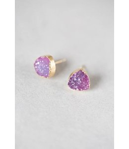 Lovoda Flat Triangle Magenta Druzy Earrings
