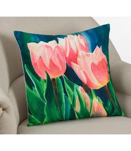 Printed Tulip Pillow Square - Multi