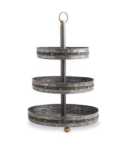 Mud Pie Studded Tin Tiered Server