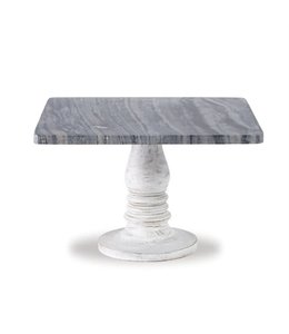 Mud Pie White Wash Marble Pedestal