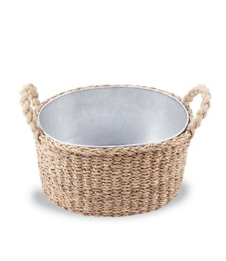 Mud Pie Seagrass Beverage Tub Basket Large