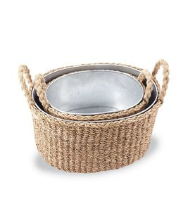 Mud Pie Seagrass Beverage Tub Basket Small