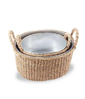 Mud Pie Seagrass Beverage Tub Basket Small